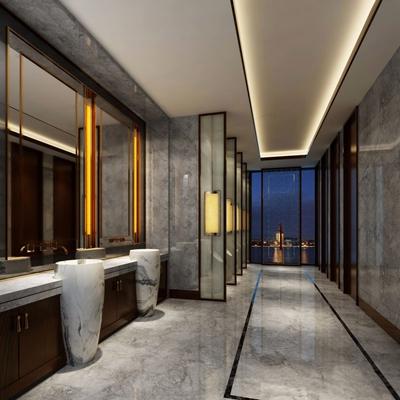 新中式酒店卫生间3D模型【ID:127865077】