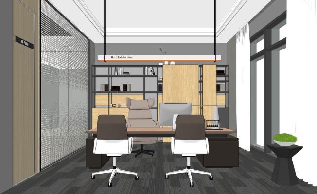 现代经理办公室SU模型【ID:347251244】
