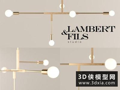 現代金屬吊燈國外3D模型【ID:829735714】