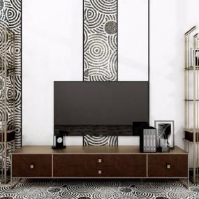 现代轻奢电视柜背景墙组合3d模型【ID:928353000】