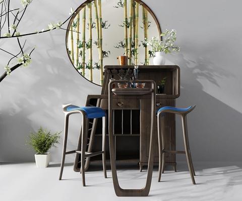 新中式吧台吧椅3D模型【ID:628053388】
