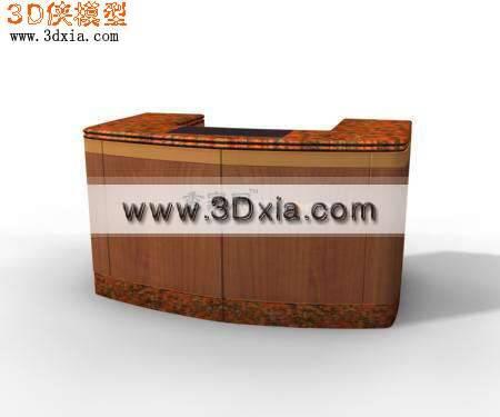 精美的3D接待桌模型下载3D模型【ID:8536】