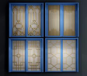 新中式實木玻璃推拉門組合3D模型【ID:727808533】