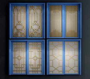 新中式实木玻璃推拉门组合3D模型【ID:727808533】
