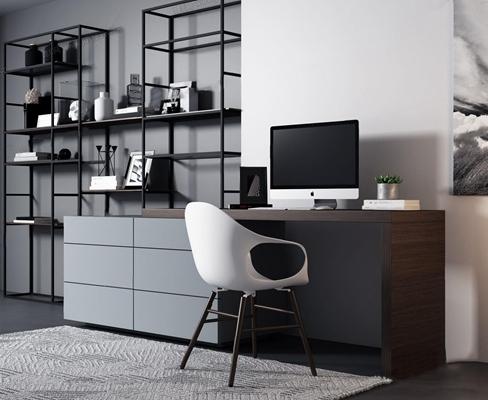 現代書桌椅書柜組合3D模型【ID:327921723】