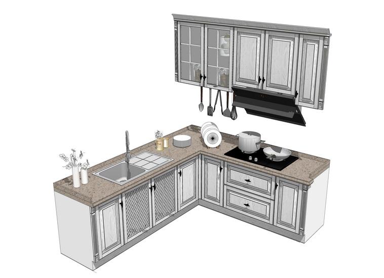 厨房橱柜组合SU模型【ID:136456724】