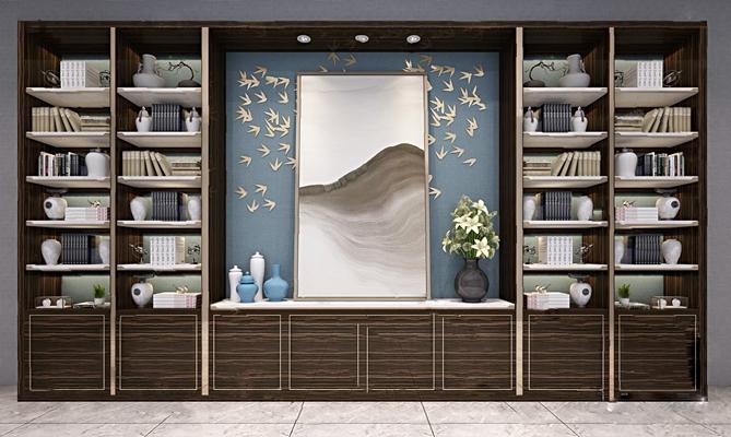 现代书柜3D模型【ID:926230563】