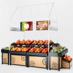 现代超市水果货架3D模型【ID:928559211】
