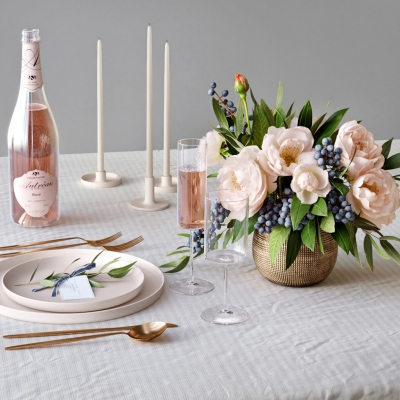 現代餐桌餐具酒水飲料蠟燭花卉擺件組合3D模型【ID:927836343】