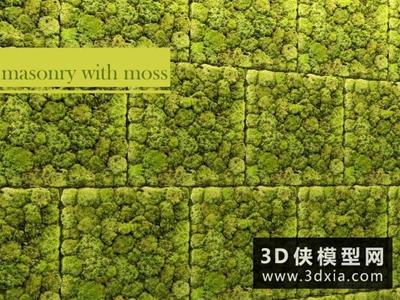 現代苔蘚植物墻國外3D模型【ID:229380565】