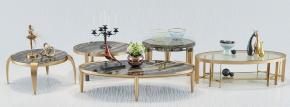 现代金属茶几边几花瓶摆件组合3D模型【ID:927828649】
