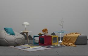 北歐休闲沙發茶幾擺件組合3D模型【ID:127754248】