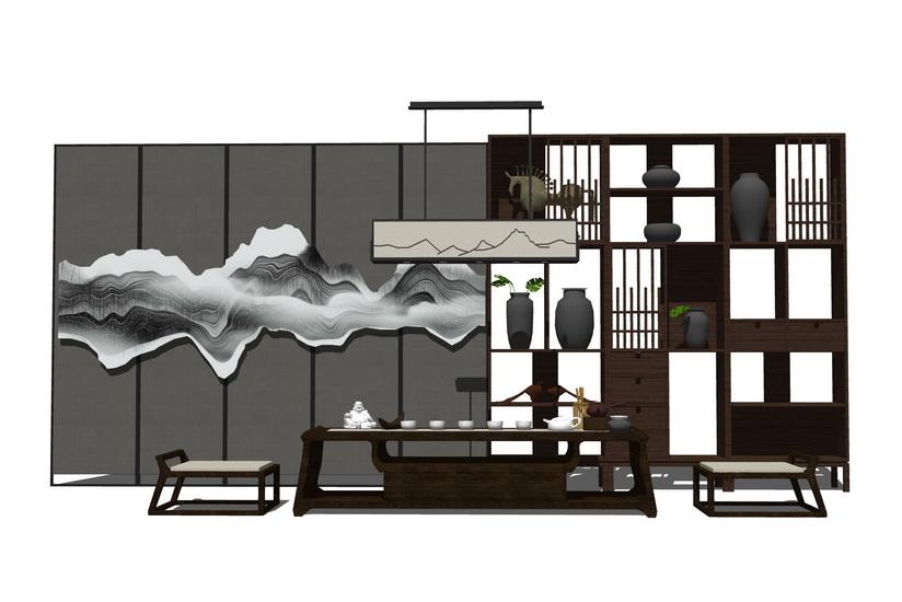 中式茶桌SU模型【ID:436457265】