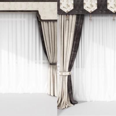 新中式窗簾組合3D模型【ID:327793844】