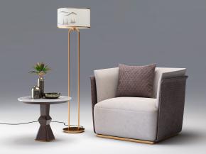 现代单人沙发圆几落地灯组合3D模型【ID:927818673】