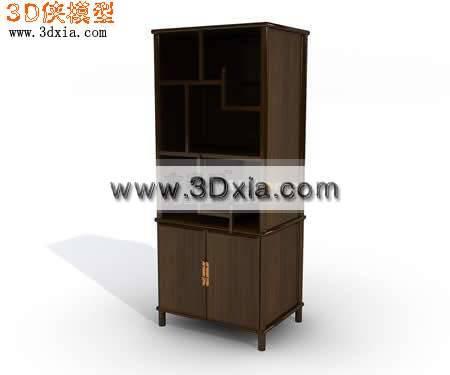 简约的3D酒柜模型下载3D模型【ID:8664】