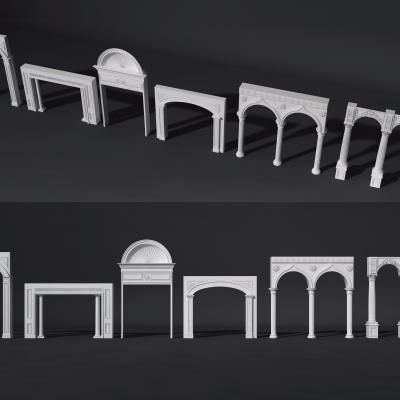 歐式拱門埡口門洞組合3D模型【ID:728468514】