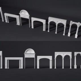 欧式拱门垭口门洞组合3D模型【ID:728468514】