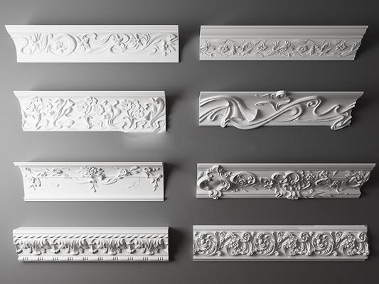 欧式雕花石膏线条组合3D模型【ID:86847349】