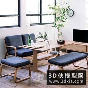 現代餐桌椅國外3D模型【ID:729331705】