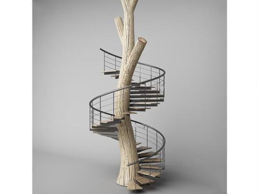 现代创意树干楼梯3D模型【ID:86852250】