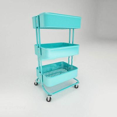 纯色手推车置物架纯色3D模型【ID:86927290】