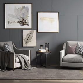 后现代单人沙发组合3D模型【ID:928195648】