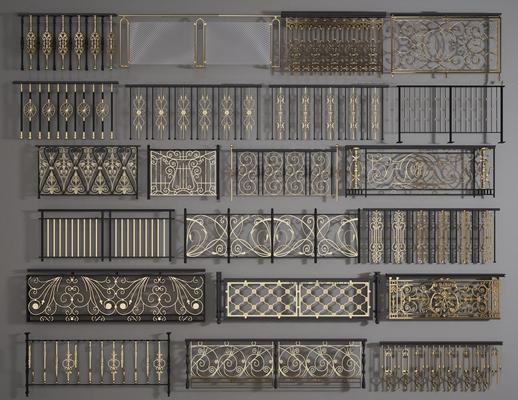 欧式铁艺雕花栏杆护栏组合3D模型【ID:86962755】