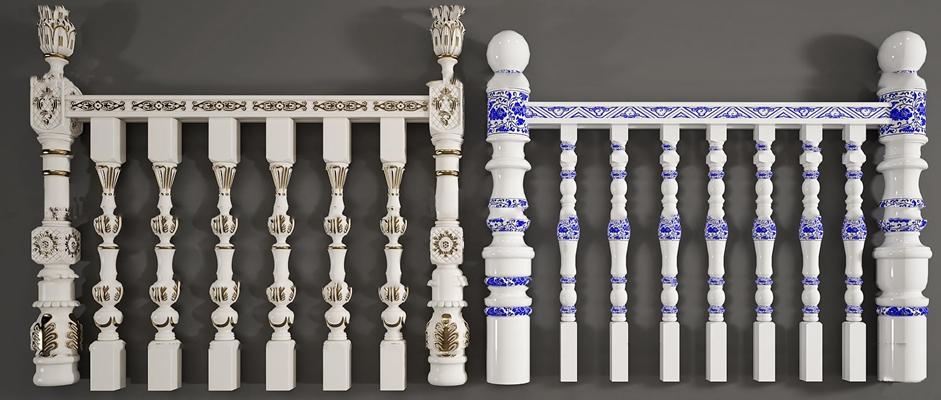 欧式雕花栏杆护栏组合3D模型【ID:86963658】