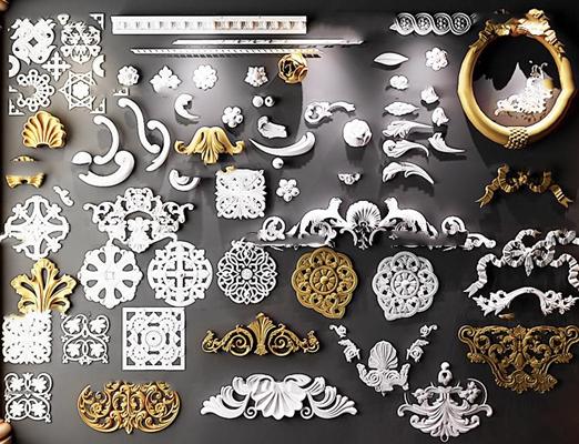 歐式雕花雕刻構件組合3D模型【ID:86971460】