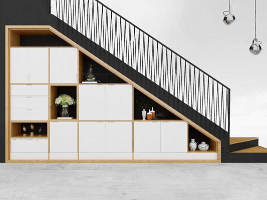 北欧实木装饰柜楼梯摆件吊灯组合3D模型【ID:86998256】