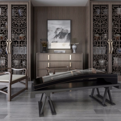 新中式古箏邊柜裝飾柜3D模型【ID:928560053】