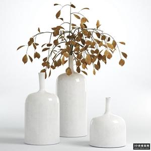 裝飾花瓶模型組合國外3D模型【ID:929459852】