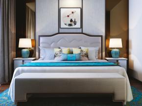 新中式雙人床床頭柜臺燈腳榻組合3D模型【ID:727806060】