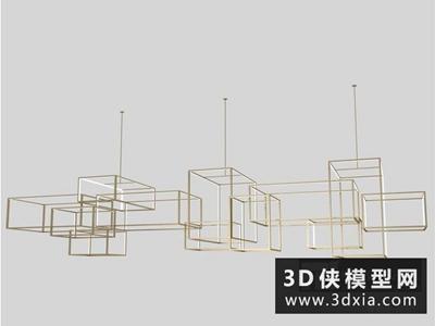 現代吊燈国外3D模型【ID:829427716】