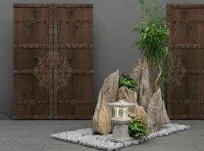 新中式假山大門組合3D模型【ID:127752819】