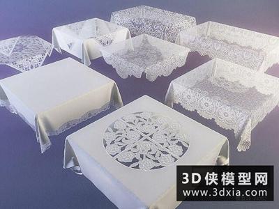 蕾丝桌布国外3D模型【ID:329347802】