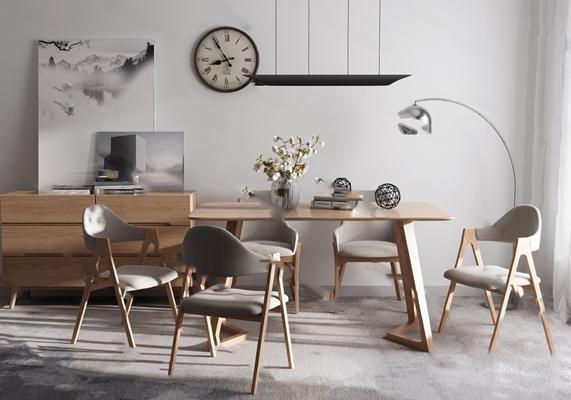 现代餐桌椅组合3D模型【ID:124880836】
