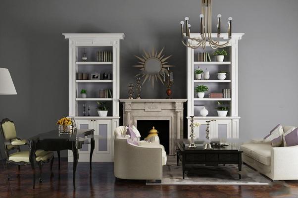 欧式沙发桌椅装饰架壁炉组合3D模型【ID:87004016】