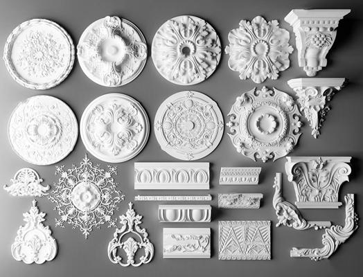 �W式石膏雕刻雕花�舯P∩�M合3D模型【ID:87019065】