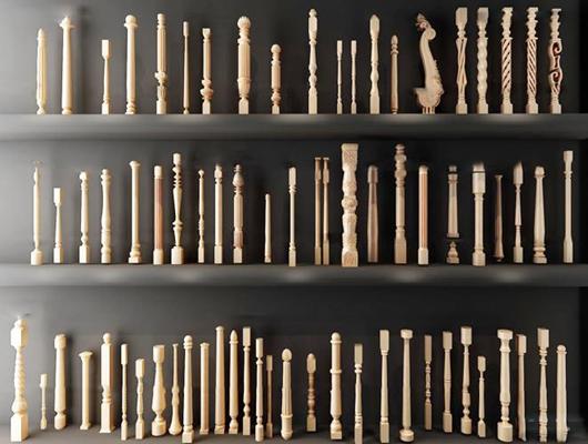 欧式实木雕花栏杆立柱组合3D模型【ID:87023757】