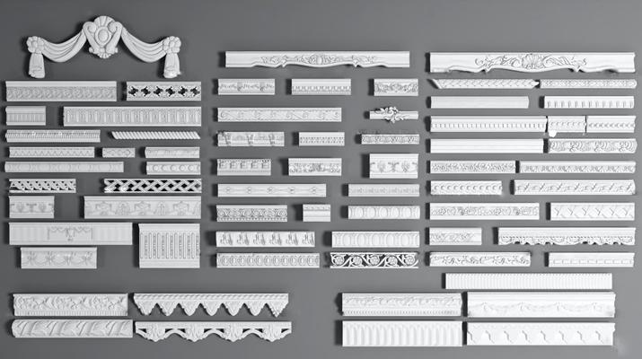 欧式石膏雕花线条组合3D模型【ID:87036849】