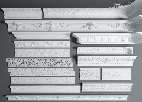 欧式石膏雕花角花角线组合3D模型【ID:87036943】
