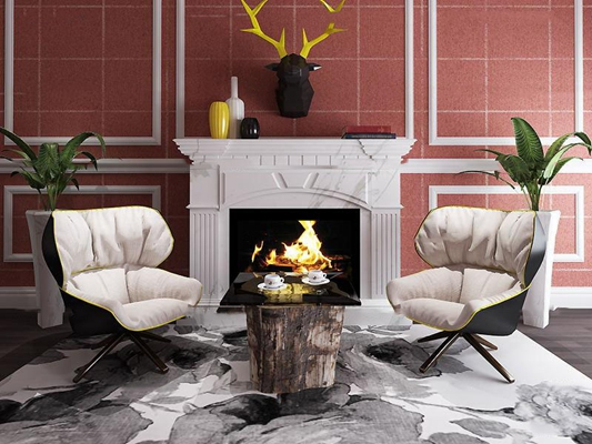 欧式壁炉休闲沙发茶几挂件组合3D模型【ID:87047710】