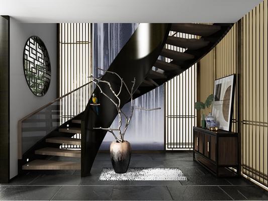 新中式旋转楼梯端景柜摆件组合3D模型【ID:87061054】