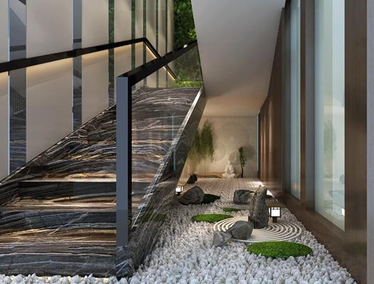 现代大理石楼梯3D模型【ID:87061755】