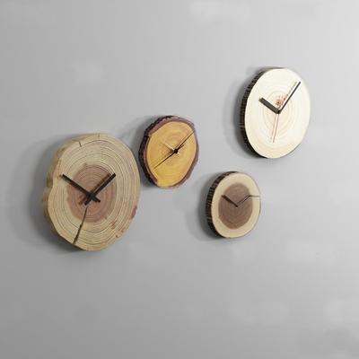 现代原木年轮挂钟组合3D模型【ID:87062024】