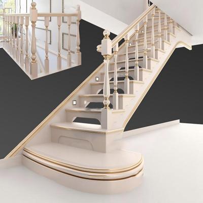 欧式实木楼梯3D模型【ID:87077956】