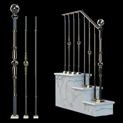 现代金属楼梯护栏3D模型【ID:87078956】