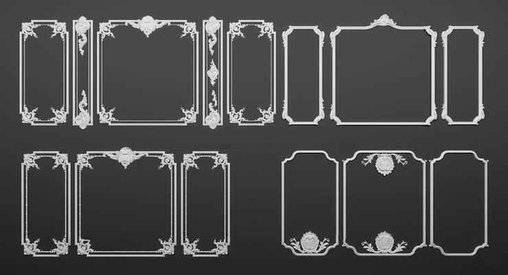�W式ㄨ石膏雕花��l�M合3D模型【ID:87080848】
